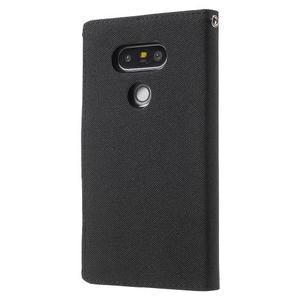 Canvas PU kožené/textilné puzdro pre LG G5 - čierne - 2