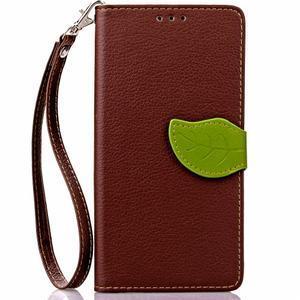 Leaf PU kožené puzdro pre LG G5 - hnedé - 2