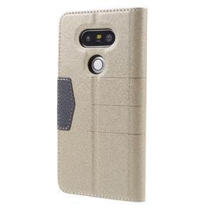 Klopové peňaženkové puzdro pre LG G5 - zlaté - 2