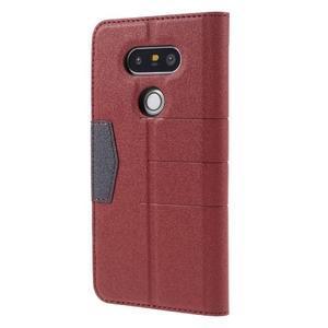 Klopové peneženkové pouzdro na LG G5 - červené - 2