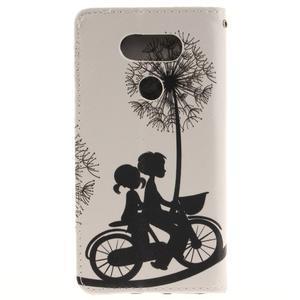 Obrázkové koženkové puzdro pre LG G5 - láska na bicykli - 2