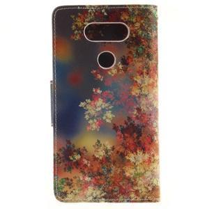 Obrázkové koženkové puzdro pre LG G5 - maľované listí - 2