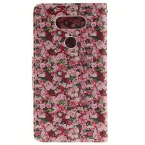 Obrázkové koženkové puzdro pre LG G5 - růže - 2