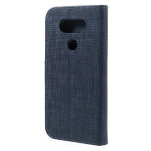 Cloth koženkové peňaženkové puzdro pre LG G5 - tmavomodré - 2