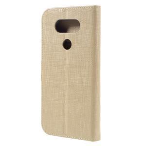 Cloth koženkové peněženkové pouzdro na LG G5 - béžové - 2