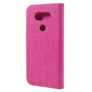 Cloth koženkové peňaženkové puzdro pre LG G5 - rose - 2
