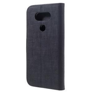 Cloth koženkové peňaženkové puzdro pre LG G5 - čierne - 2