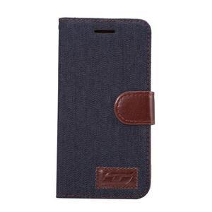 Jeans peňaženkové puzdro pre LG G5 - černomodré - 2