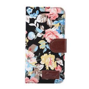 Kvetinové puzdro pre mobil LG G5 - čierny vzor - 2