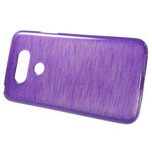 Hladký gelový obal s broušeným vzorem na LG G5 - fialový - 2