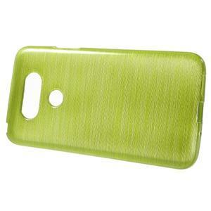 Hladký gelový obal s broušeným vzorem na LG G5 - zelený - 2