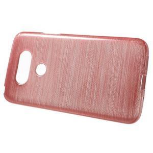 Hladký gélový obal s brúseným vzorem na LG G5 - ružový - 2