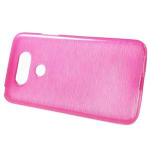 Hladký gélový obal s brúseným vzorem na LG G5 - rose - 2