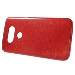 Hladký gélový obal s brúseným vzorem na LG G5 - červený - 2
