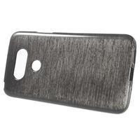 Hladký gelový obal s broušeným vzorem na LG G5 - černý - 2/6