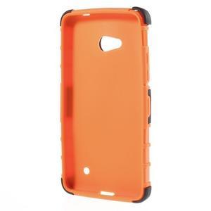 Vysoko odolný kryt so stojanom na Microsoft Lumia 640 - oranžový - 2