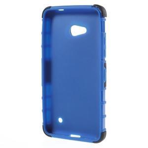 Vysoko odolný kryt so stojanom na Microsoft Lumia 640 -  modrý - 2