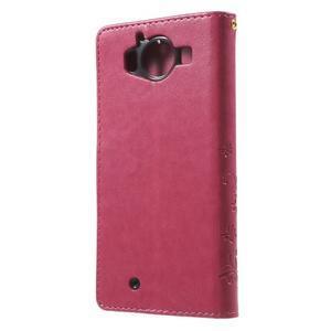 Butterfly PU kožené puzdro pre Microsoft Lumia 950 - rose - 2