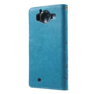 Buttefly PU kožené pouzdro na Microsoft Lumia 950 - modré - 2