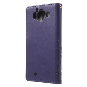 Butterfly PU kožené puzdro pre Microsoft Lumia 950 - fialové - 2