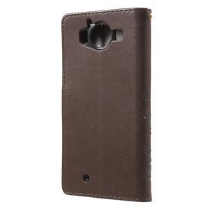 Butterfly PU kožené puzdro pre Microsoft Lumia 950 - coffee - 2