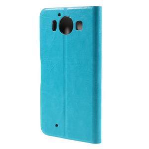 Horse PU kožené puzdro pre mobil Microsoft Lumia 950 - modré - 2