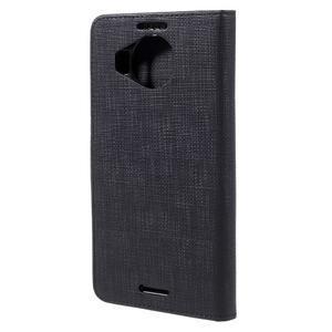 Cloth PU kožené puzdro pre mobil Microsoft Lumia 950 XL - čierne - 2