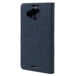 Cloth PU kožené pouzdro na mobil Microsoft Lumia 950 XL - tmavěmodré - 2