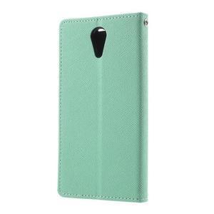 Diary PU kožené puzdro pre mobil HTC Desire 620 - cyan - 2