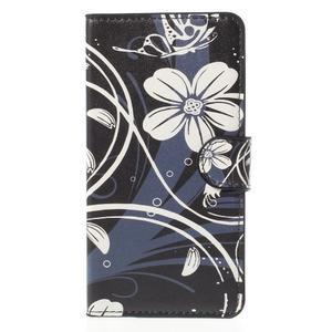 Zapínacie peňaženkové puzdro Huawei Y635 - biela kvetina - 2