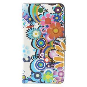 Zapínacie peňaženkové puzdro Huawei Y635 - farebné kvety - 2