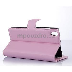 Stylové peňaženkové puzdro na Lenovo S850 - růžové - 2