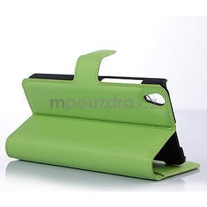 Stylové peňaženkové puzdro na Lenovo S850 - zelené - 2