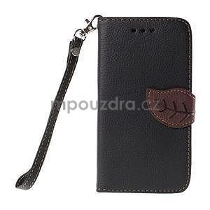 PU kožené púzdro so zapínaním na Nokia Lumia 730/735 - čierne - 2