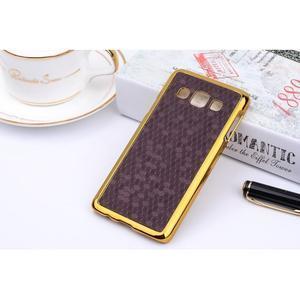 Elegantný obal pre Samsung Galaxy A3 - fialový se zlatým lemem - 2