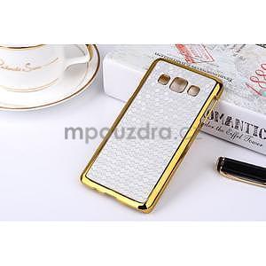 Elegantný obal pre Samsung Galaxy A3 - strieborný se zlatým lemem - 2