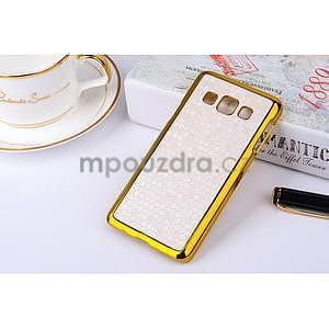 Elegantný obal pre Samsung Galaxy A3 - biely se zlatým lemem - 2
