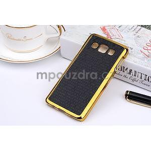 Elegantný obal na Samsung Galaxy A3 - čierny se zlatým lemem - 2