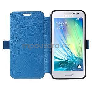 Klopové kožené puzdro na Samsung Galaxy A3 - modré - 2