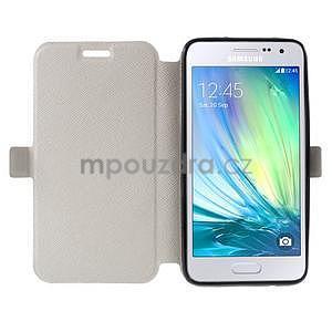 Klopové kožené puzdro na Samsung Galaxy A3 - biele - 2