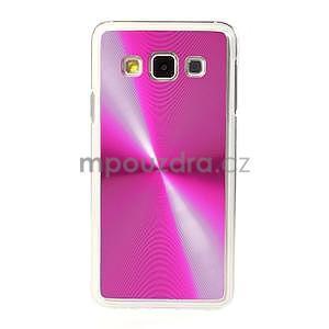 Metalický plastový obal na Samsung Galaxy A3 - růžový - 2
