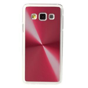 Metalický plastový obal pre Samsung Galaxy A3    - červený - 2