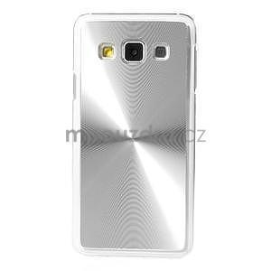 Metalický plastový obal na Samsung Galaxy A3 - strieborný - 2