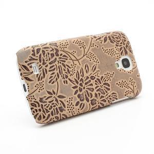 Kvetinové puzdro pre Samsung Galaxy S4 - hnedé - 2