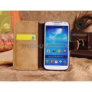 Peněženkové pouzdro z pravé kůže na Samsung Galaxy S4 - khaki - 2