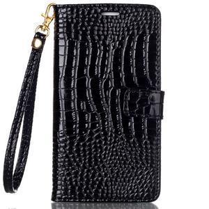 Croco styl peňaženkové puzdro pre Samsung Galaxy S7 - čierne - 2