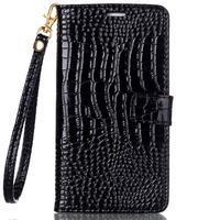 Croco styl peněženkové pouzdro na Samsung Galaxy S7 - černé - 2/6