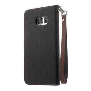 Mercury Orig PU kožené puzdro pre Samsung Galaxy S7 - čierne/hnedé - 2