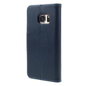 Rich PU kožené peněženkové pouzdro na Samsung Galaxy S7 - tmavěmodré - 2