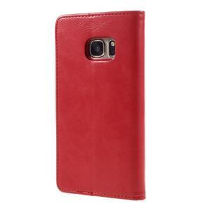 Moon PU kožené puzdro pre mobil Samsung Galaxy S7 - červené - 2